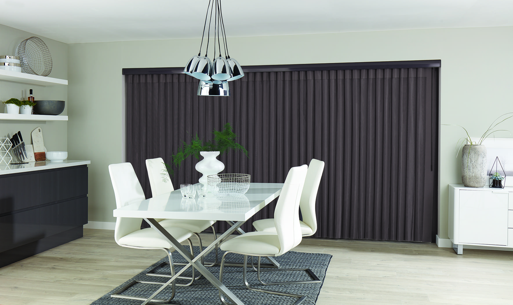 Closed free hanging allusion curtains.