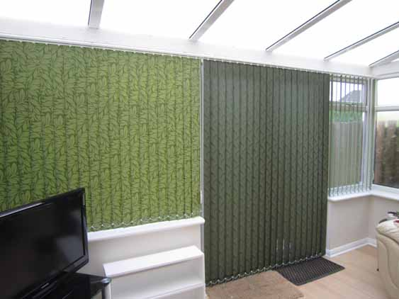Green Vertical blinds.