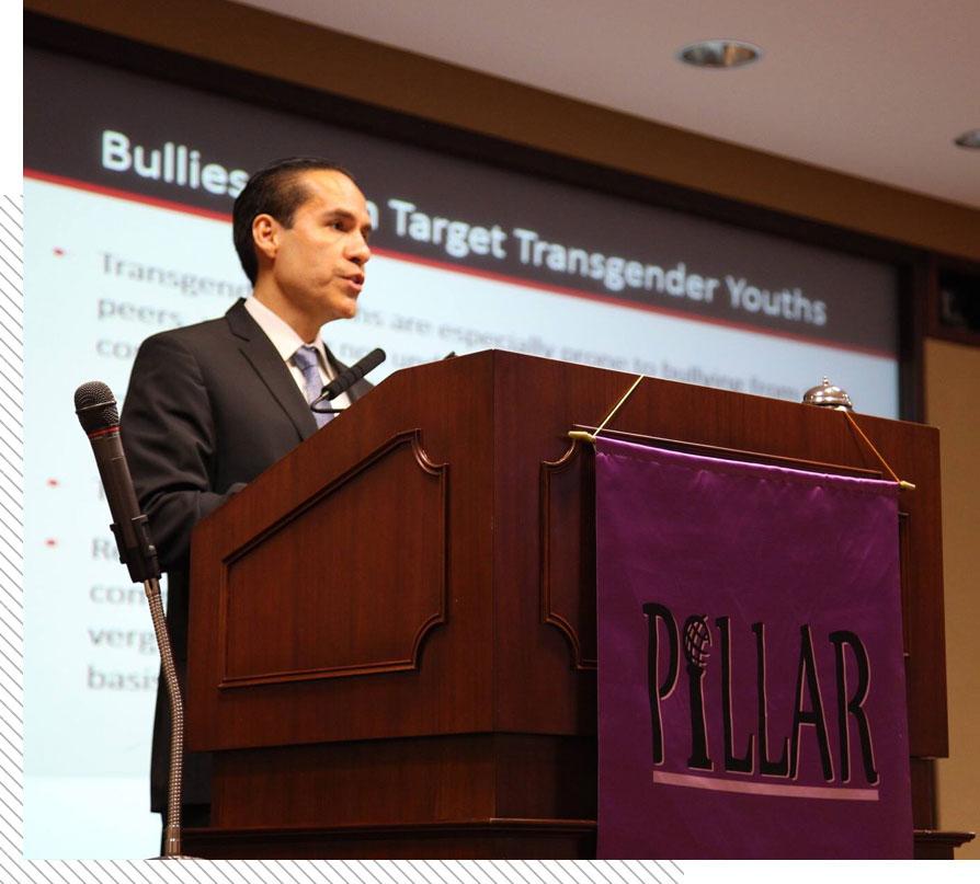 A picture of Mr. Cruz at a podium.