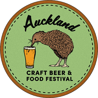 Auckland Craft Beer & Food Festival Logo. Kiwi Bird Drinking from a frothy beer glass.