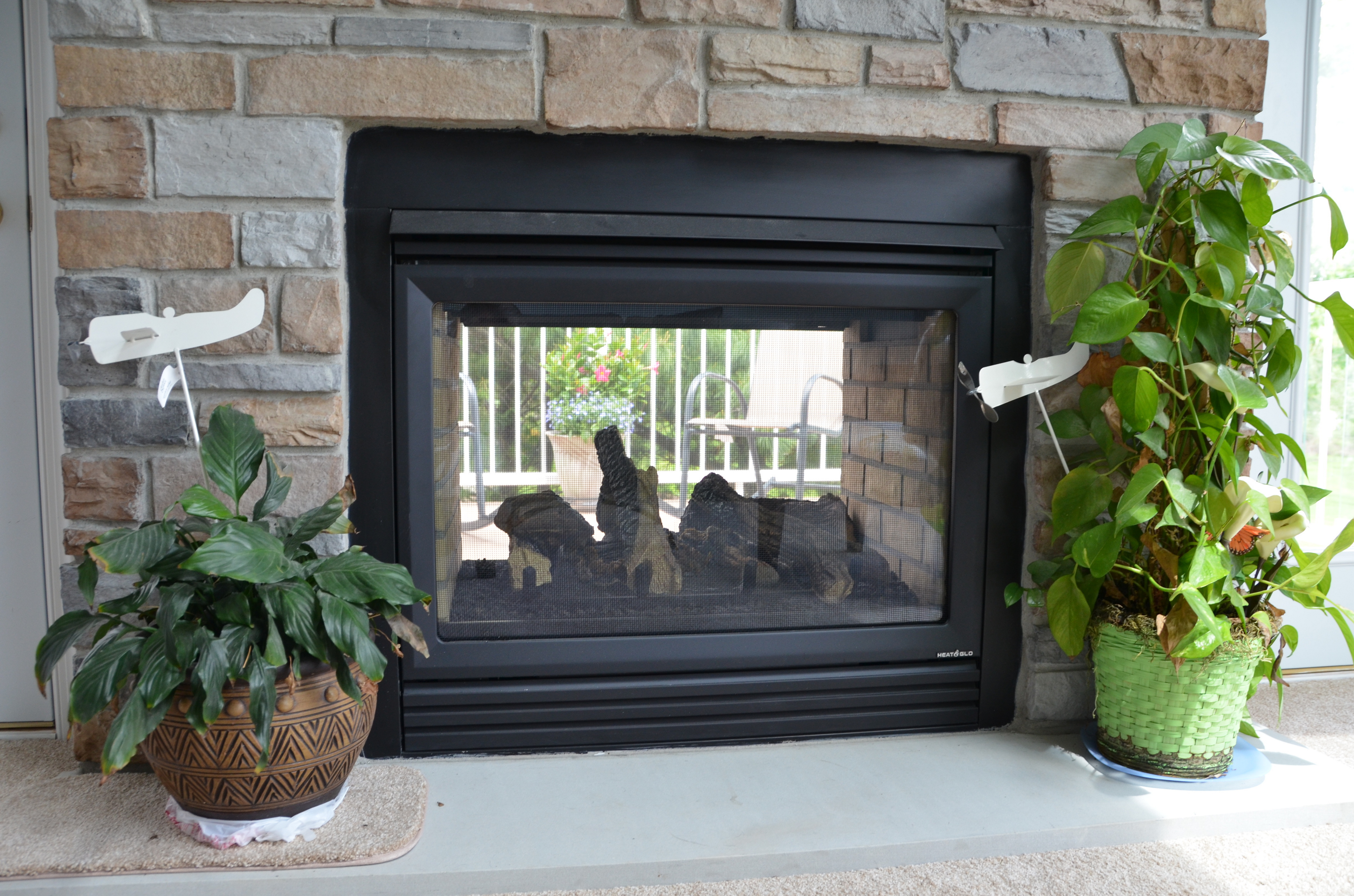 Two-sided fireplace as viewed from inside