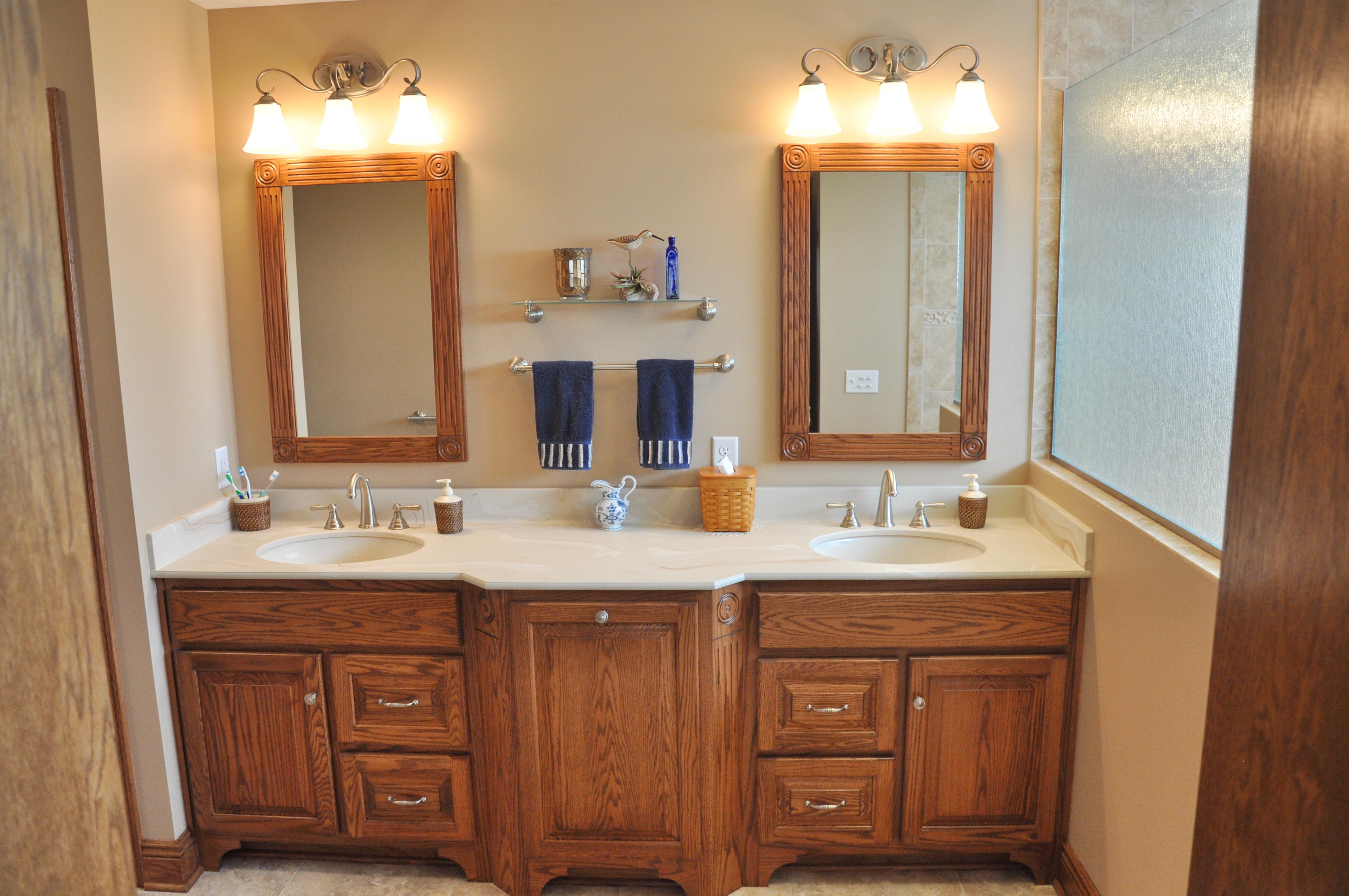 Double vanity with built in hamper