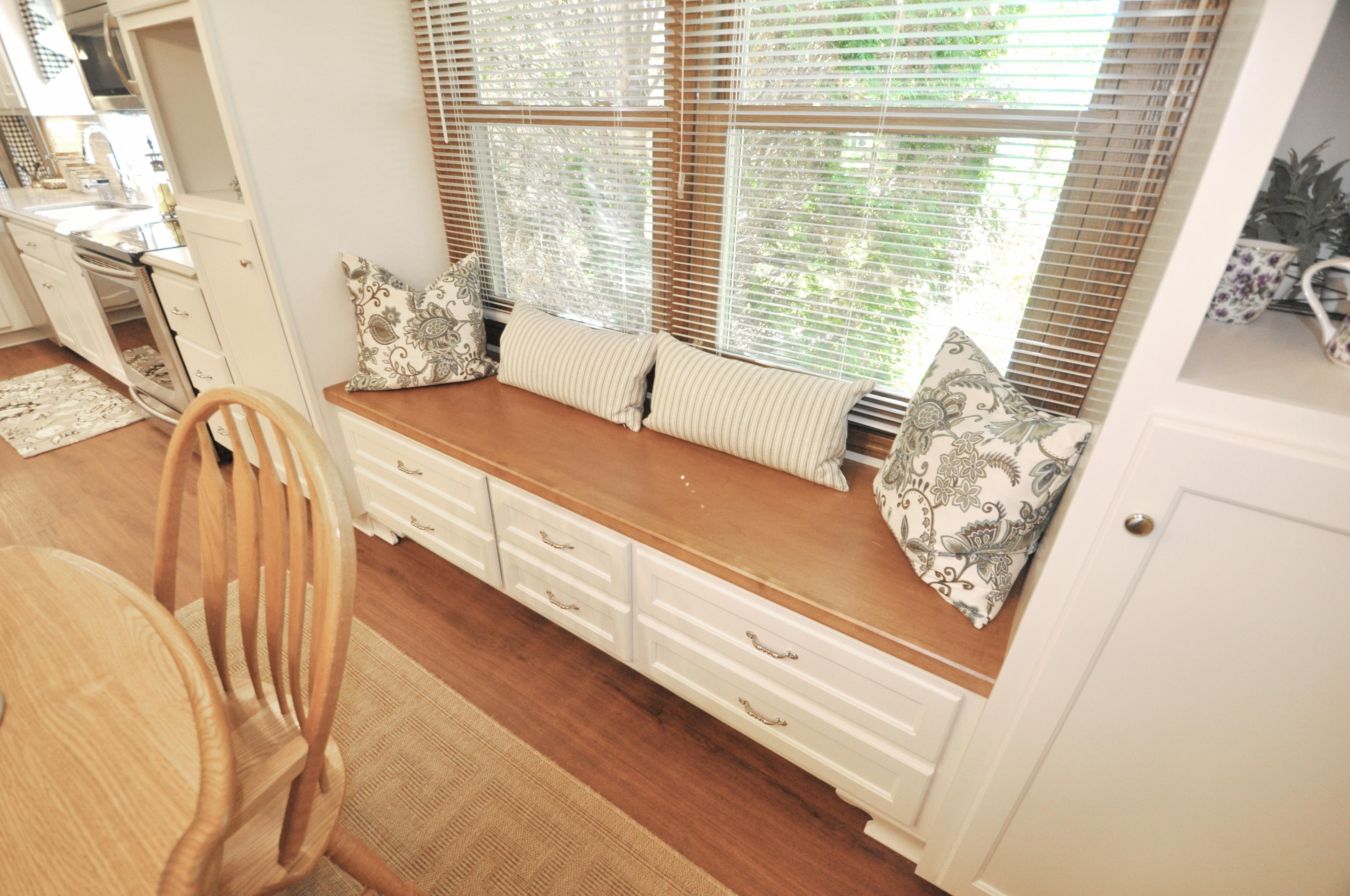 Custom window seat with storage