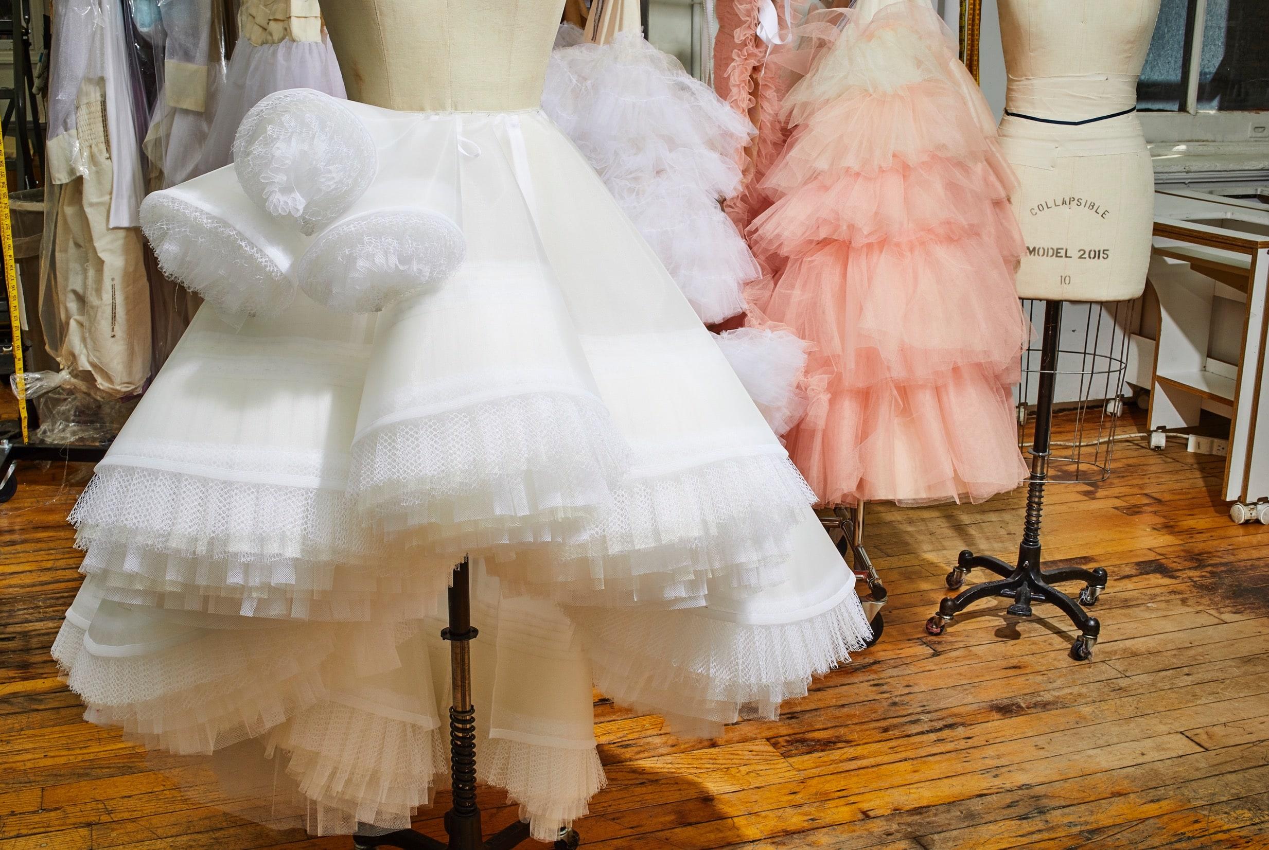 White tule skirt on mannequin in studio