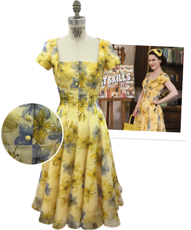 The Marvelous Mrs. Maisel yellow dress on mannequin with detail and polaroid of actress wearing dress