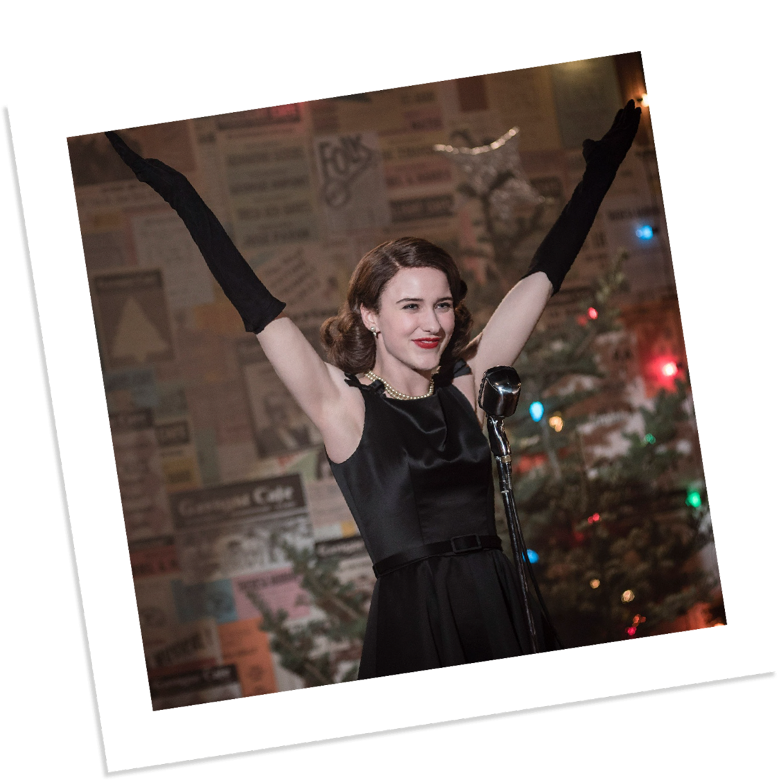 The Marvelous Mrs. Maisel polaroid of actress on stage in black dress