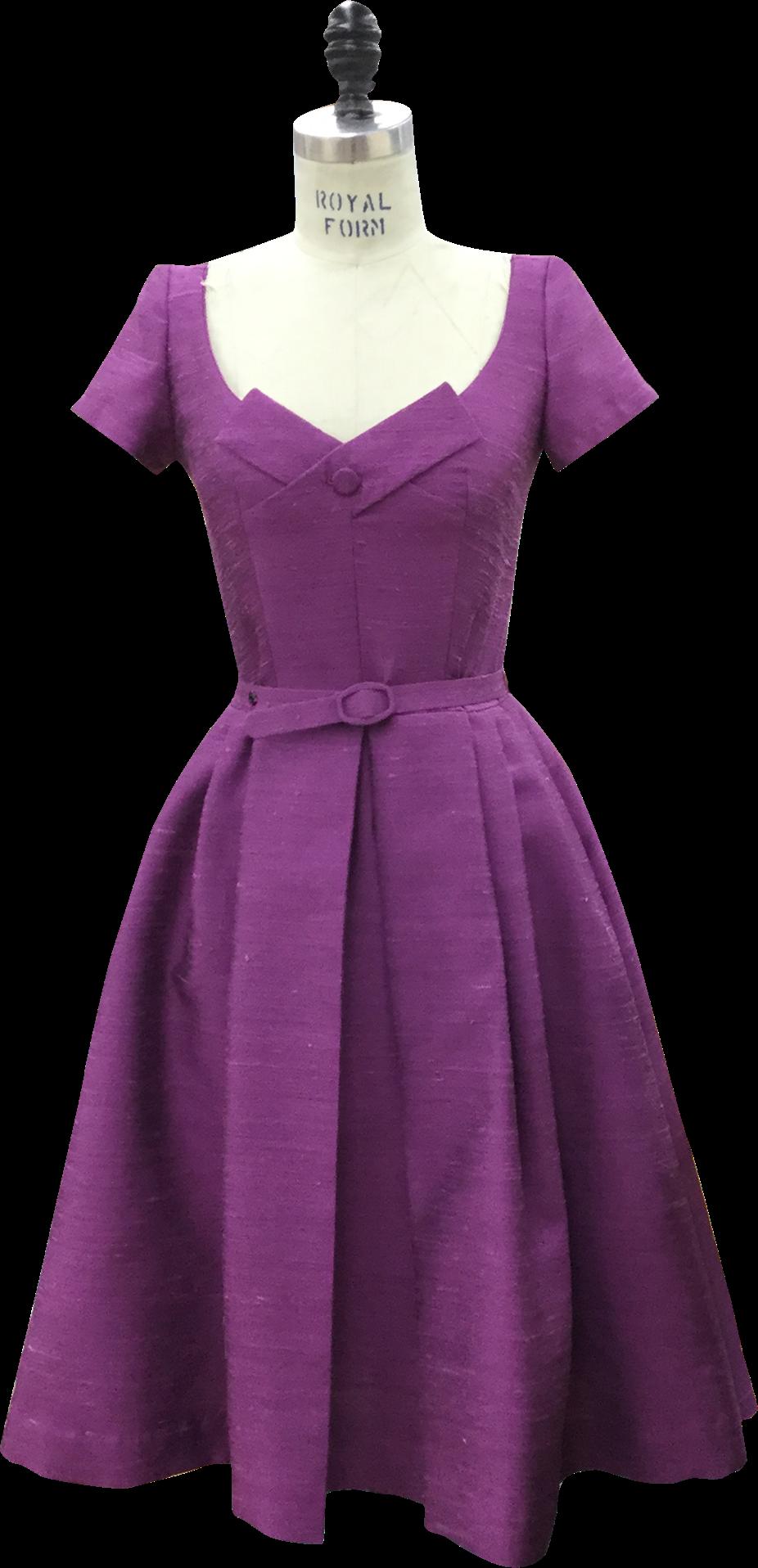 The Marvelous Mrs. Maisel purple dress on mannequin