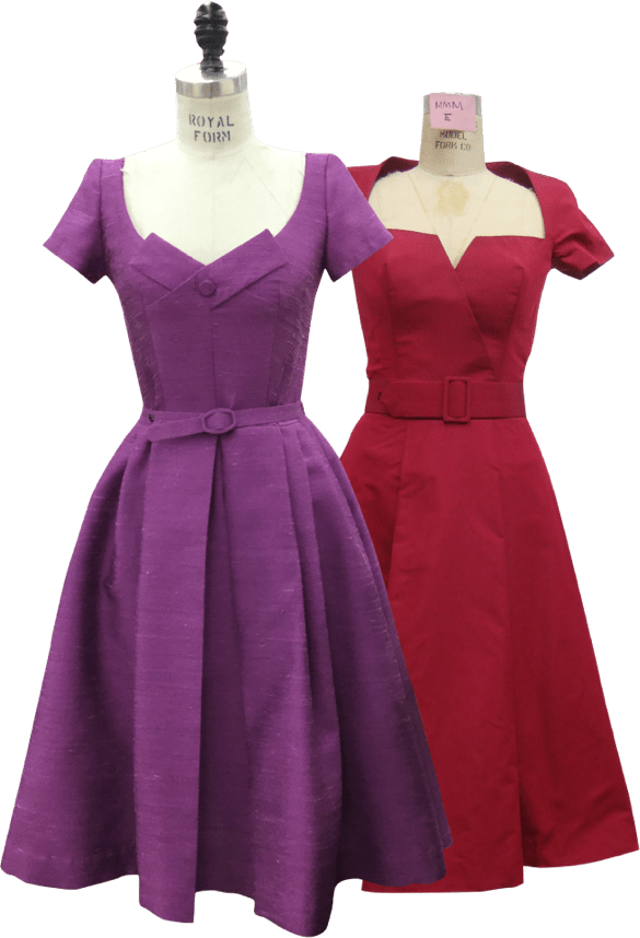 The Marvelous Mrs. Maisel pink and purple dress on mannequins