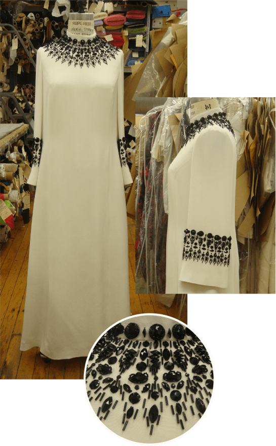 The Post white dress costume collage