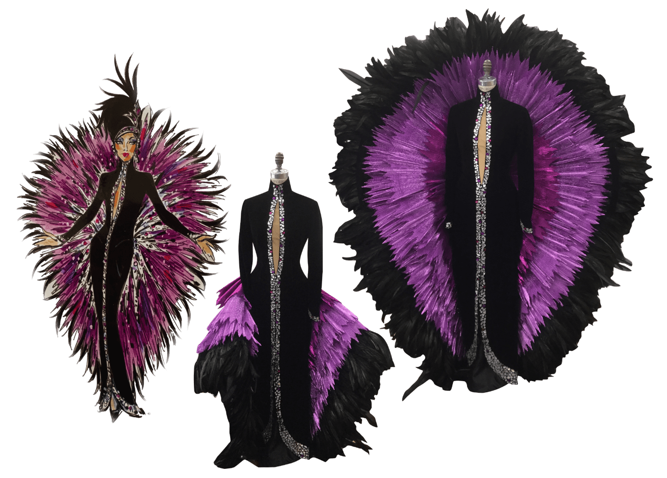 Cher purple and black feather costume collage