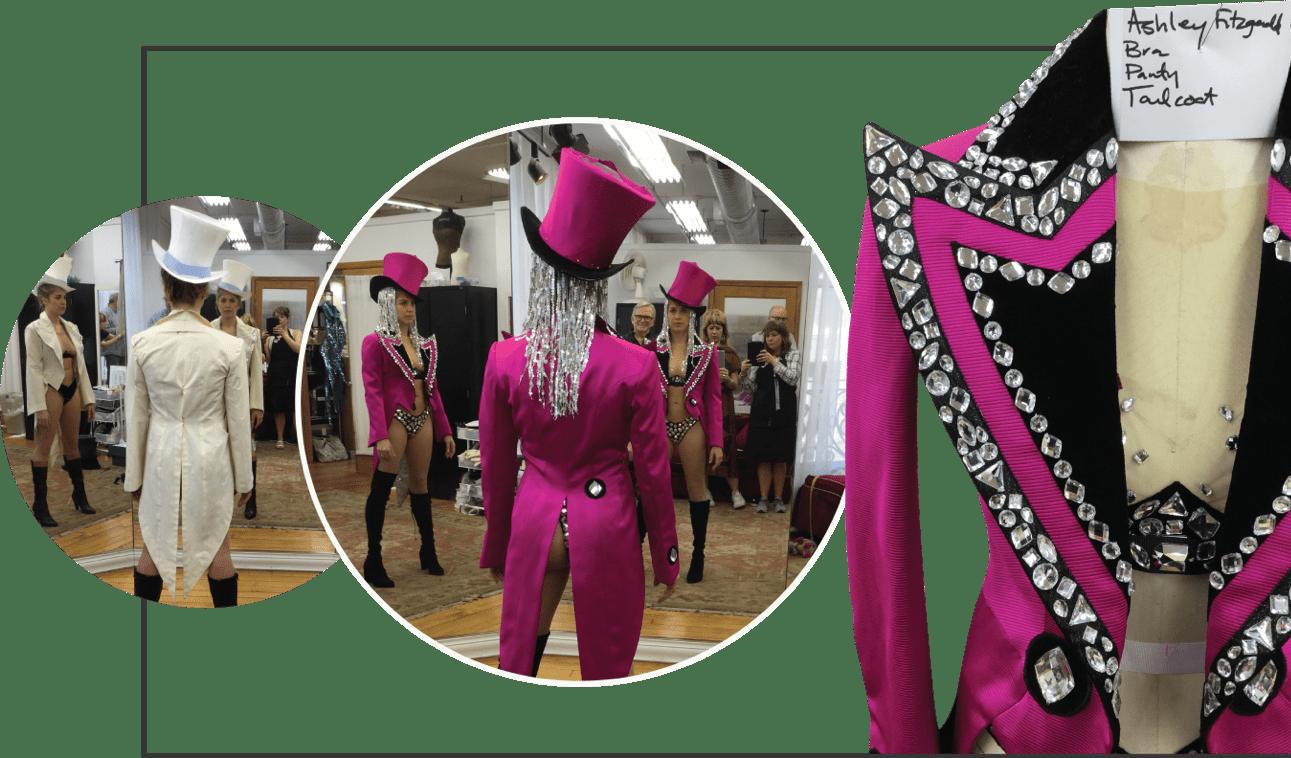 Cher fuchsia and black costume process collage