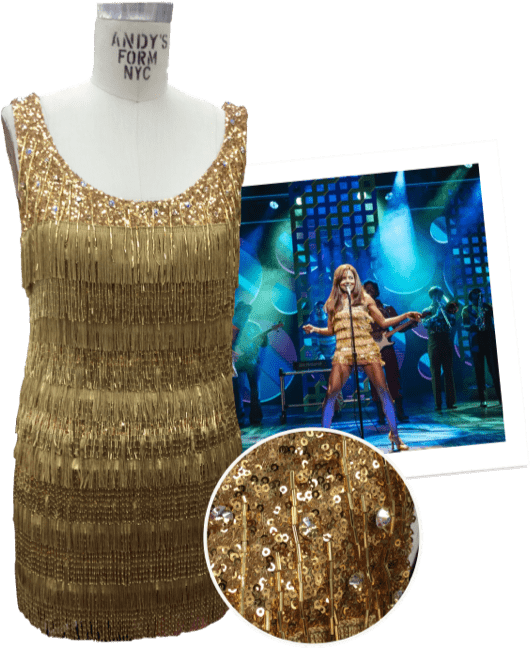 Tina gold sequin dress details collage