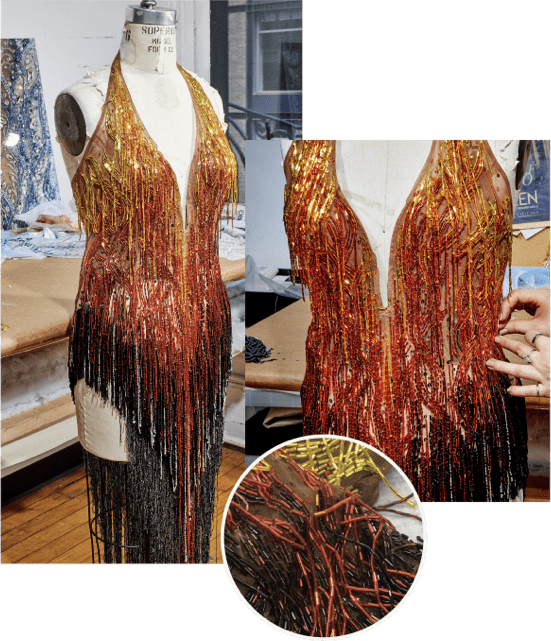 Tina red and black sequin dress details collage