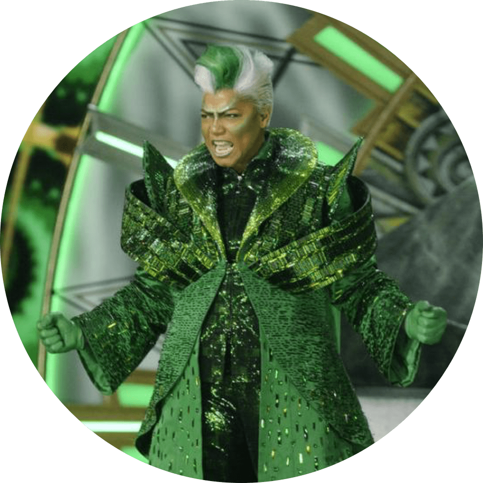 The Wiz Live feature image character in green costume on stage