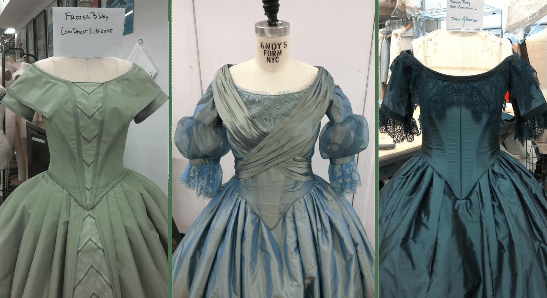 Frozen 3 blue dresses on mannequins