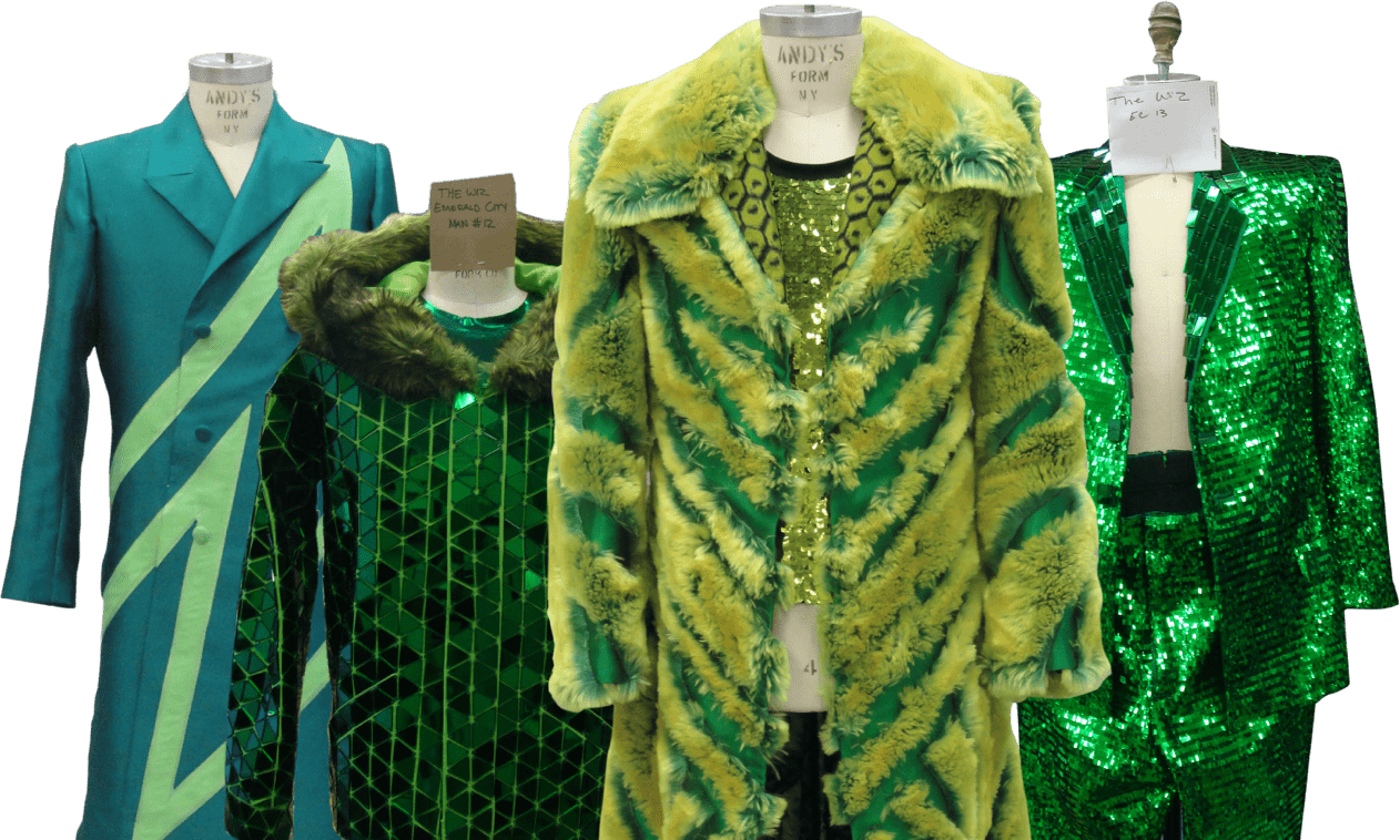 The Wiz Live 4 green costumes on mannequins