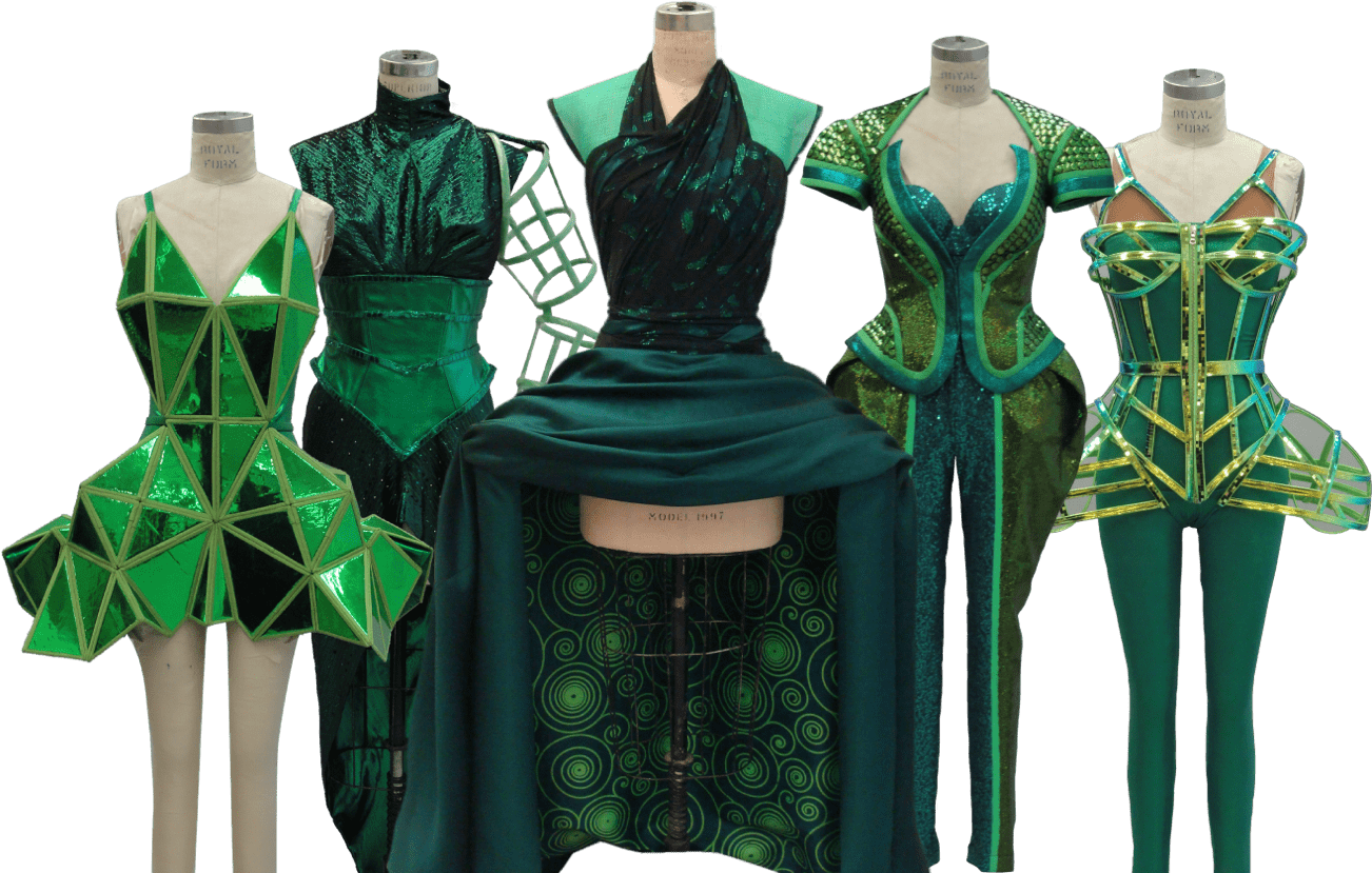 The Wiz Live 5 green costumes on mannequins