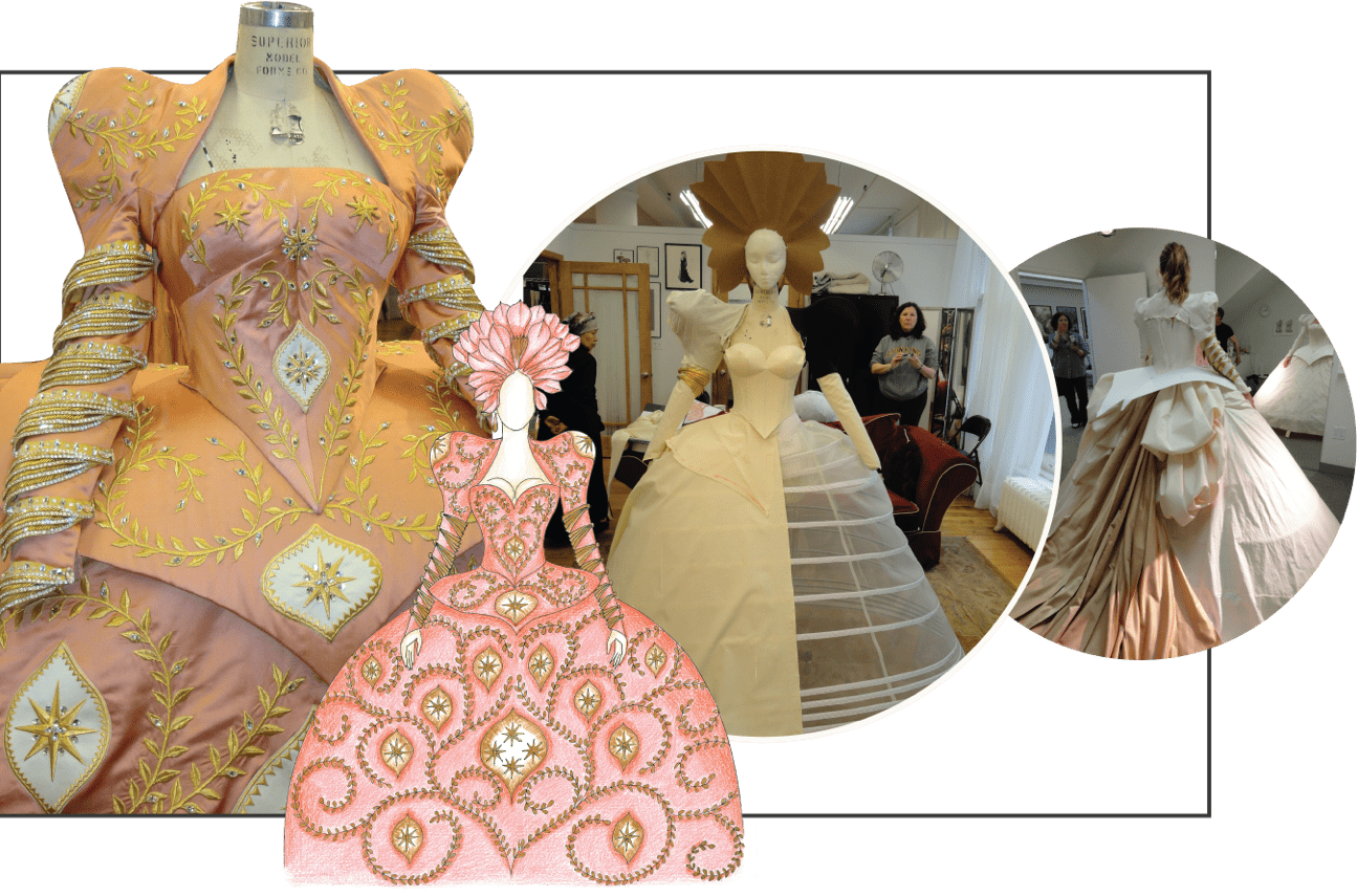 Mirror Mirror pink and gold costume process collage