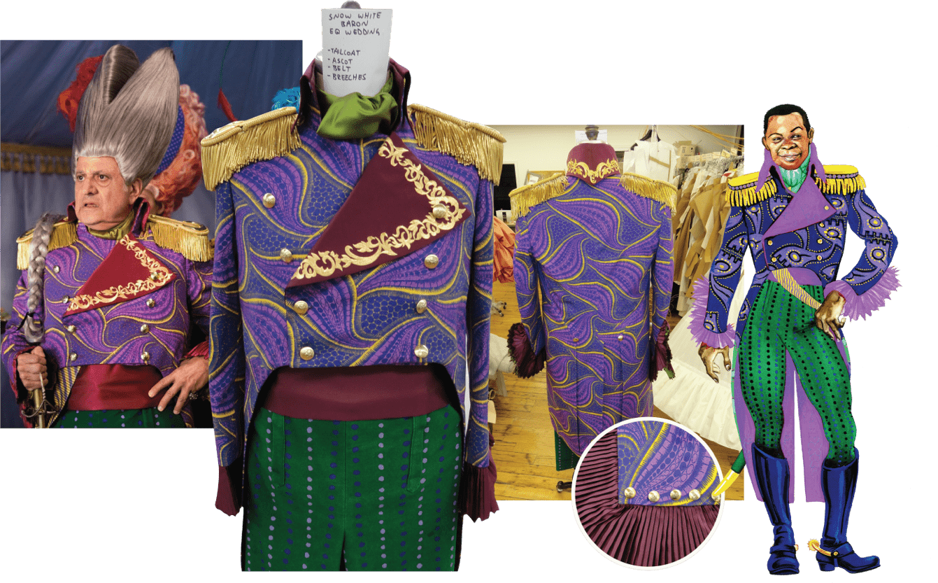 Mirror Mirror red, purple, gold, and green costume process collage