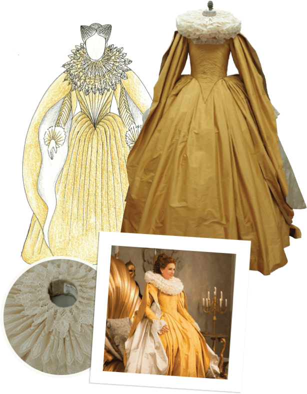 Mirror Mirror gold dress costume process collage