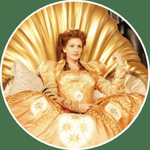 Mirror Mirror Julia Roberts in gold dress