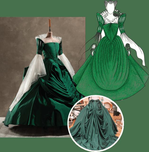 Mirror Mirror green dress costume process collage