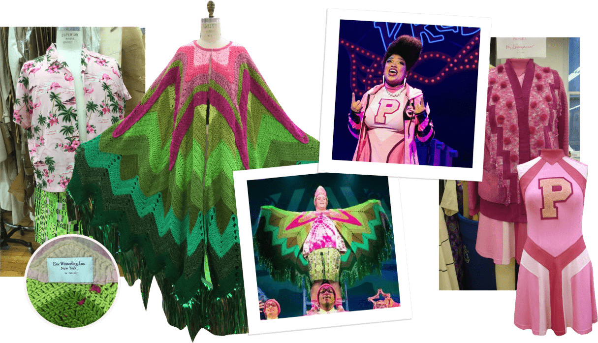 Spongebob costume collage pink and green