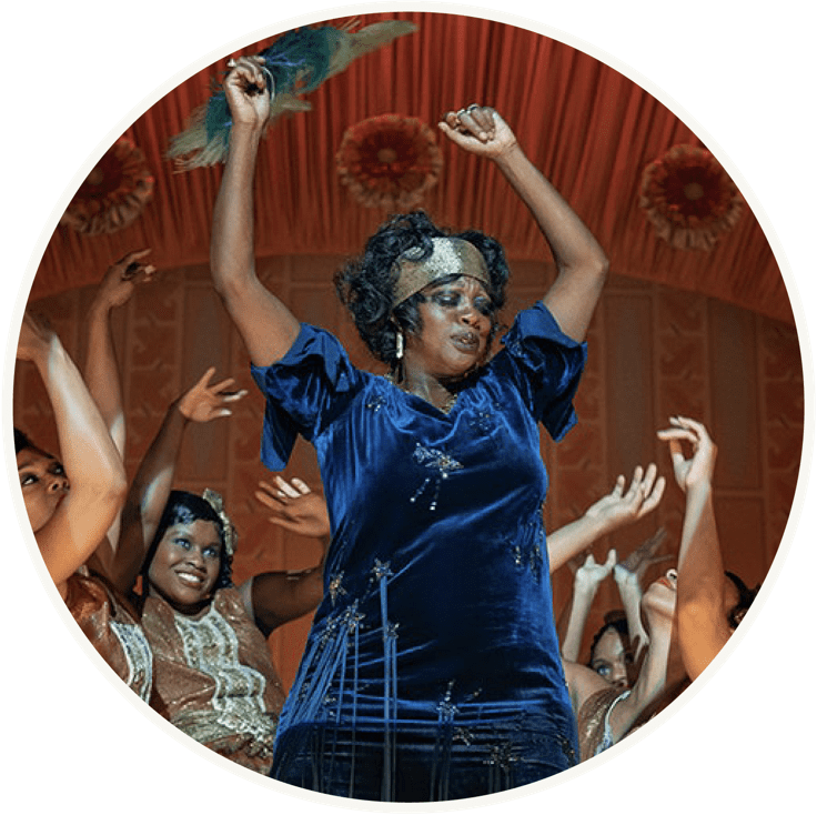 Ma Rainey feature image: actress in blue dress dancing with dancers behind
