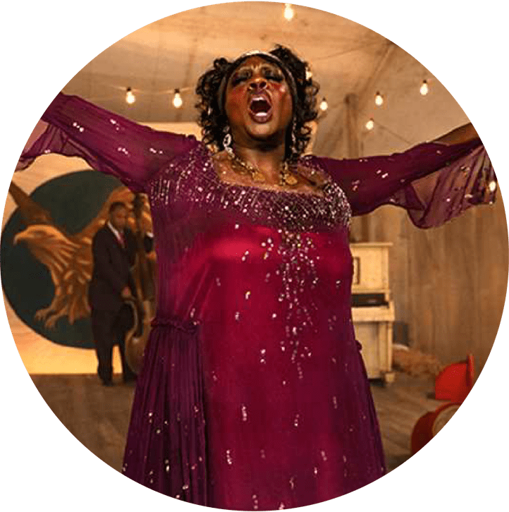 Ma Rainey feature image actress in red dress singing