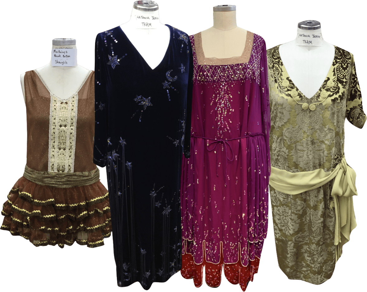 Ma Rainey 4 dresses on mannequins