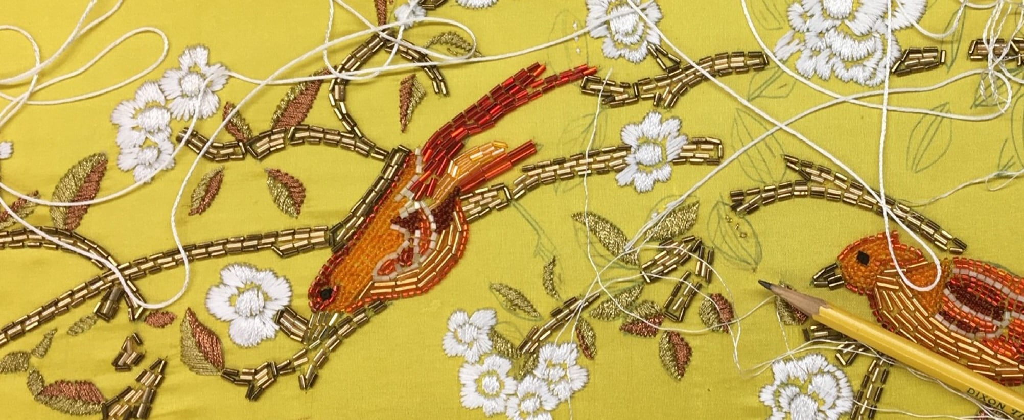 Beauty and the Beast yellow gown fabric details