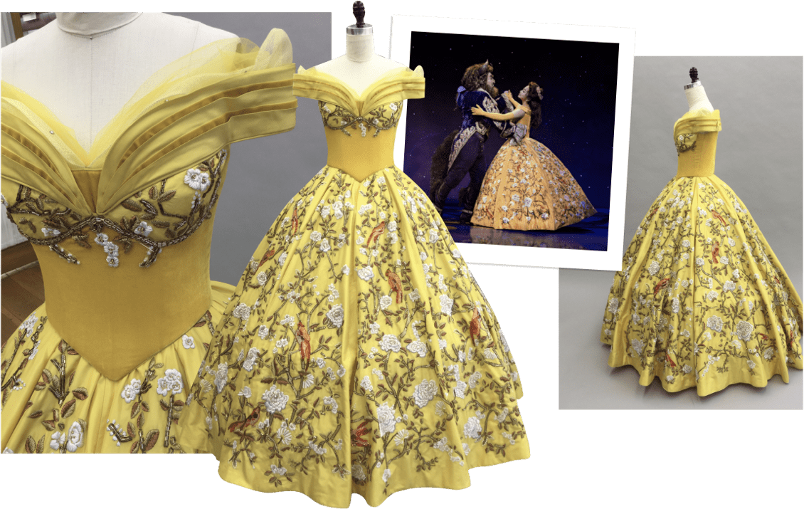 Beauty and the Beast yellow gown collage
