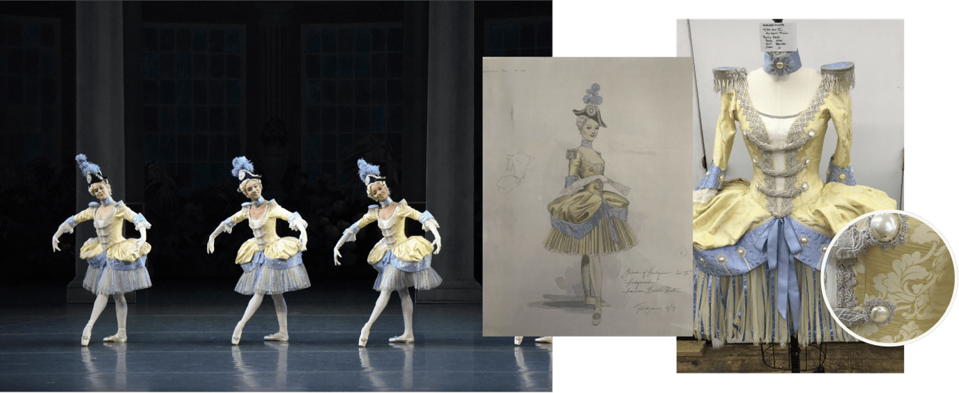 Harlequinade Costume collage - yellow and blue dresses