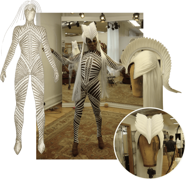 Grace Jones Tour Costume collage