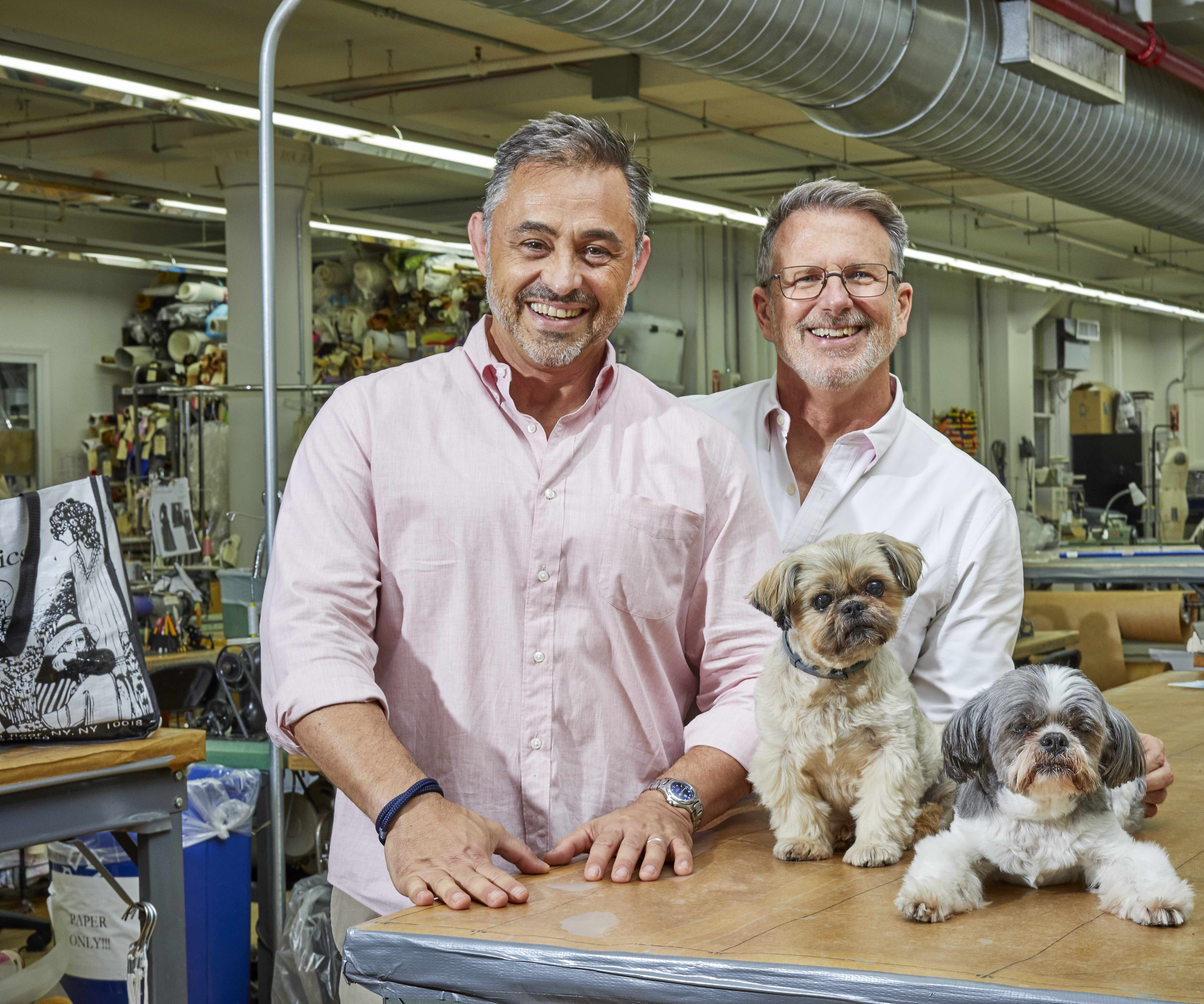 Michael Peck, Eric Winterling, and their two dogs