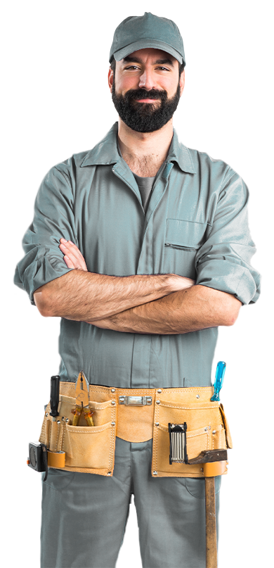 A smiling plumber with his arms crossed