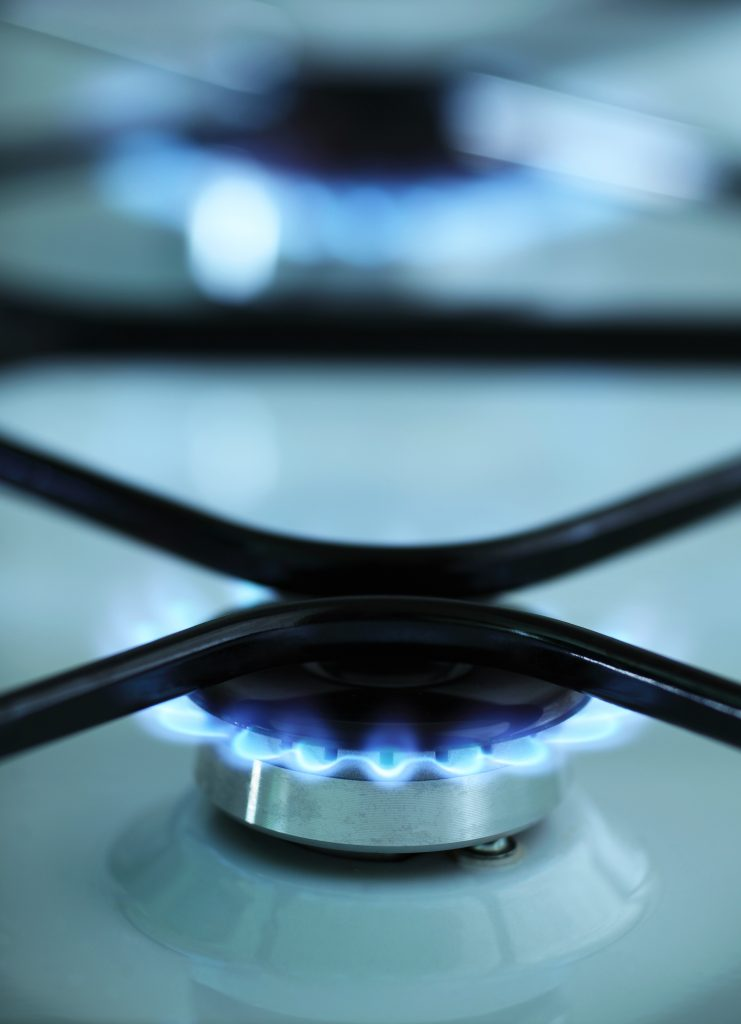 A gas stove flame