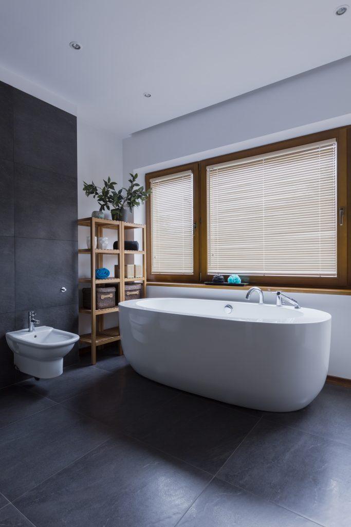A free standing bathtub and bidet