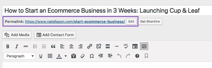 WordPress change your article Slug