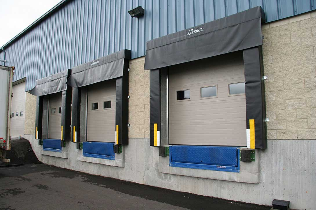 Loading docks on the exterior of a warehouse.