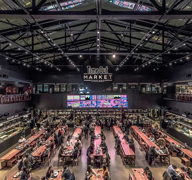 Interior shot of the Time Out Market in Chicago
