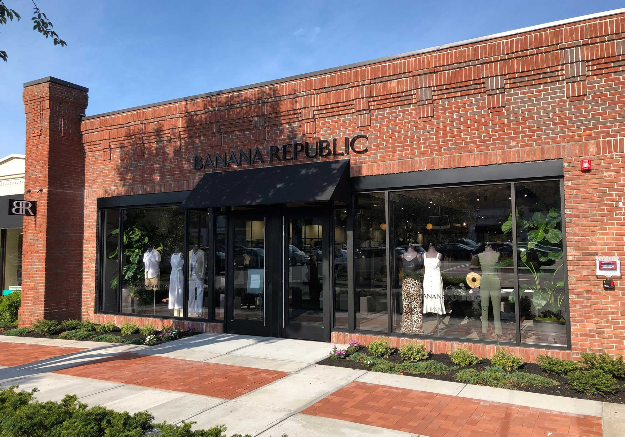 Brick store front with window displays