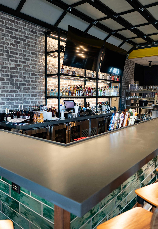 Details of a bar with liquor bottles