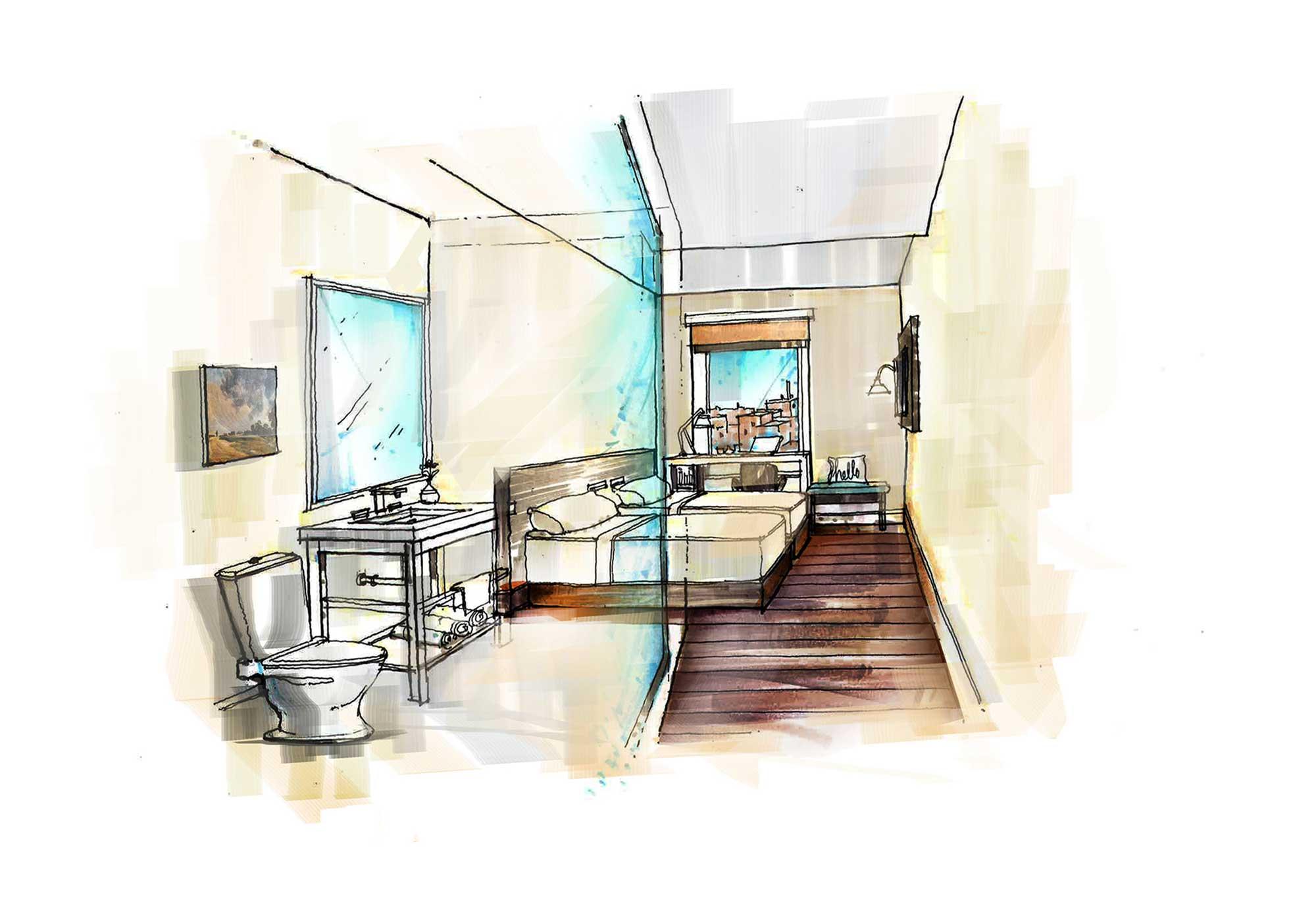 Watercolor rendering of a bedroom