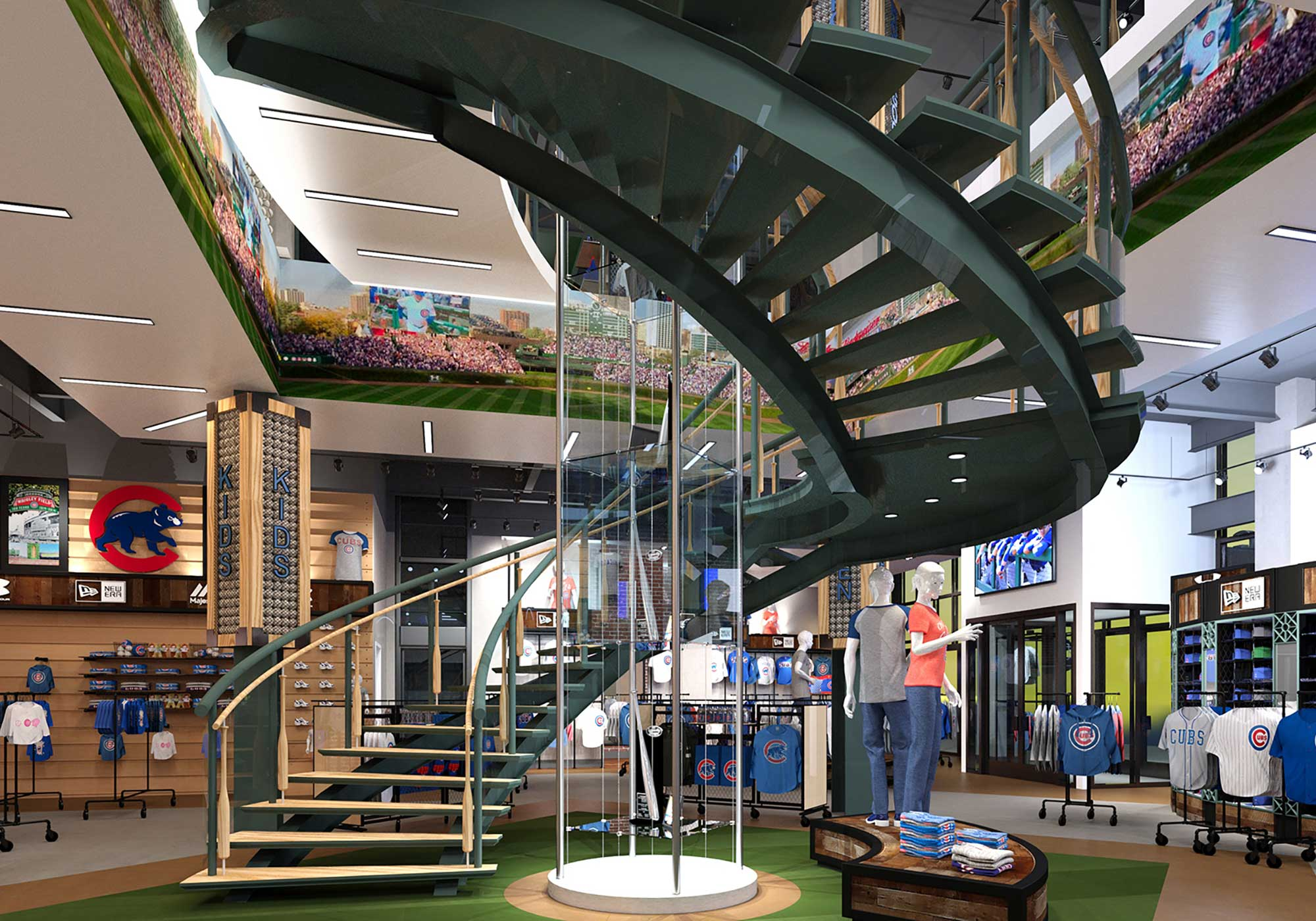 Curved staircase over a mannequin display