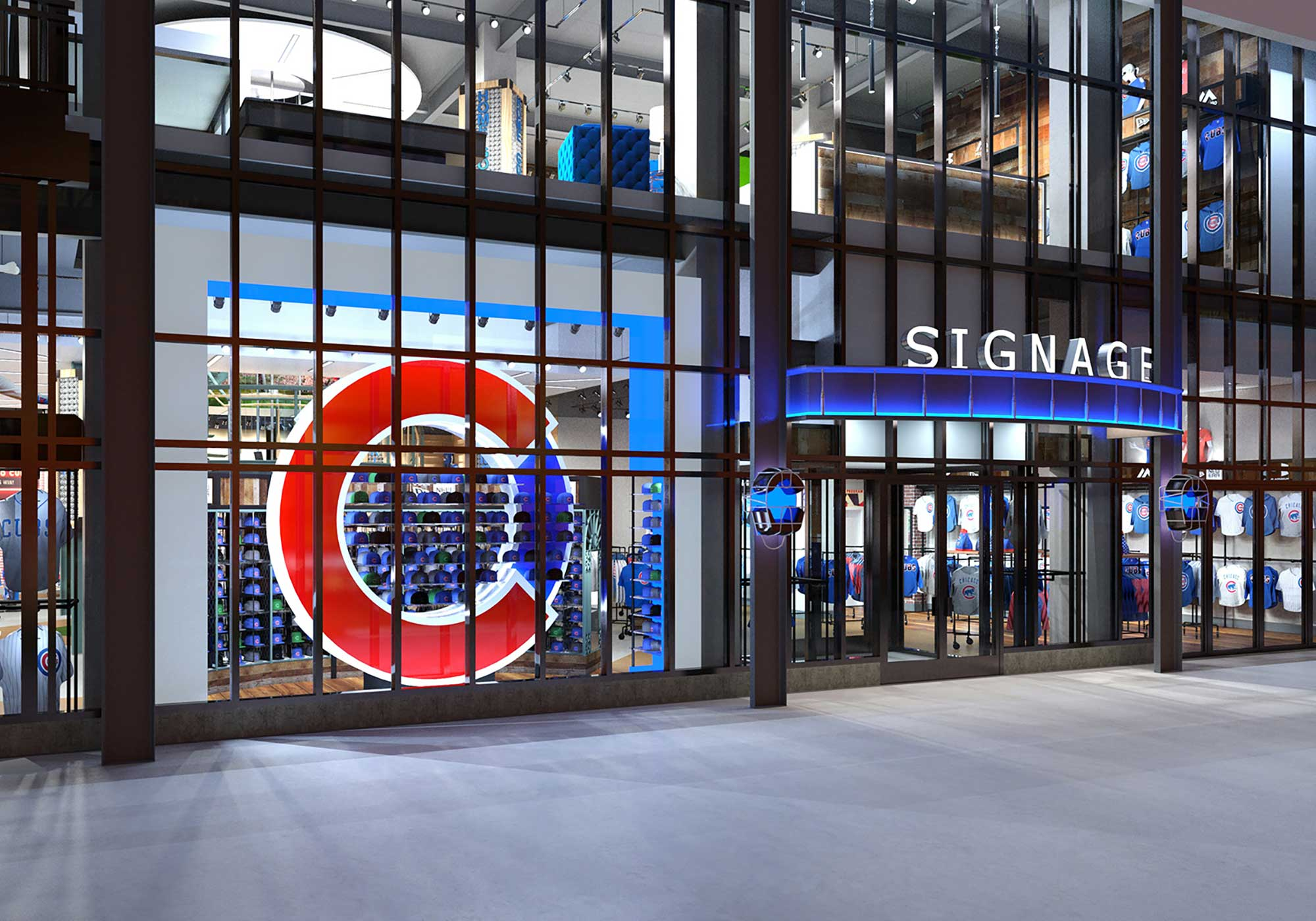 Rendering of the Cubs store with a giant red C logo on the wall