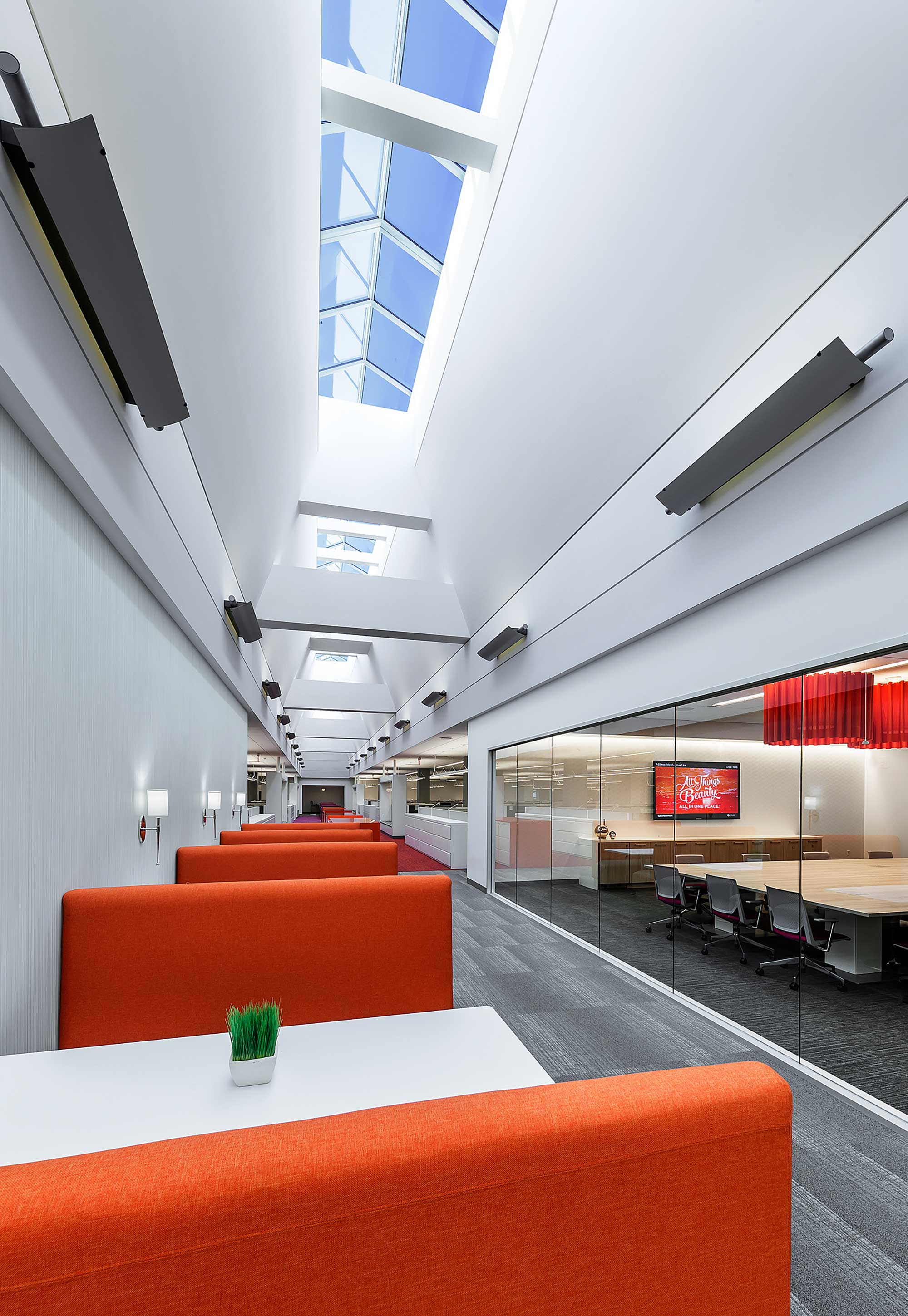 Open work space with cubicle seating