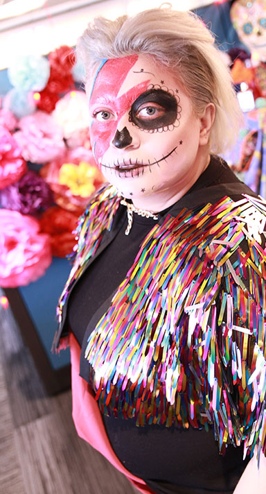 Woman in a Day of the Dead costume