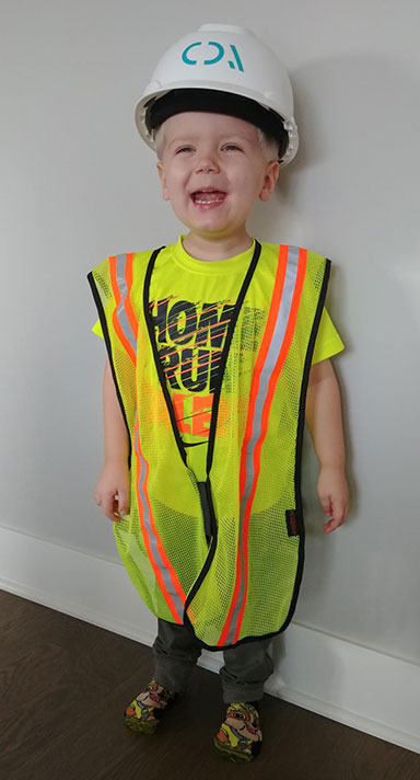 Child dressed as a construction worker