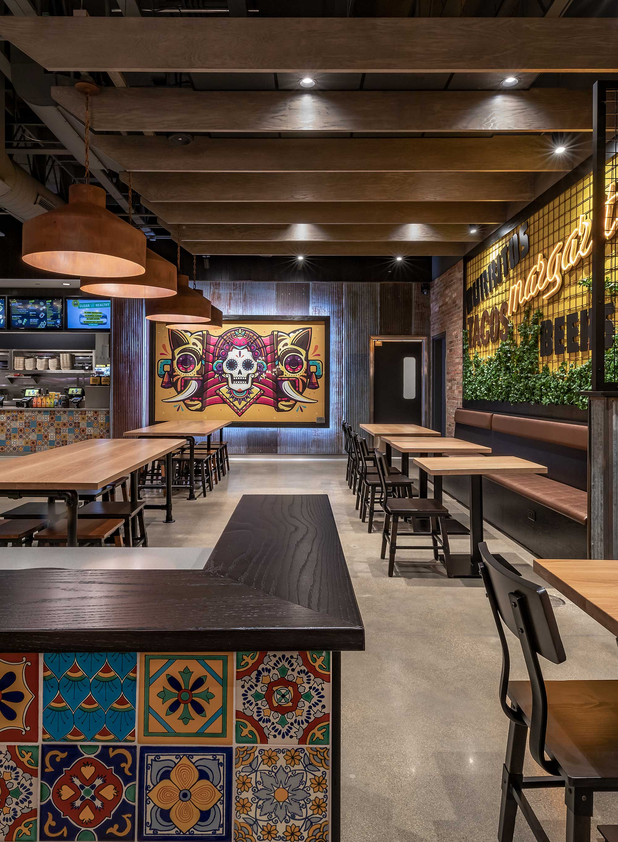 Restaurant interior with Day of the Dead wall art